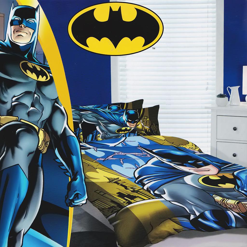Batman Quilt Doona Duvet Cover Set Boys Bedding Kids Dark Knight Bat Man Toy
