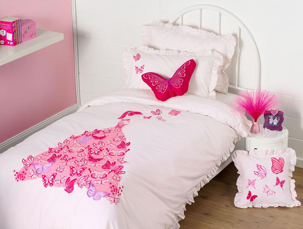 Girls Luxury Bedding: Butterfly Dress Bedding Quilt Cover Set Doona Duvet Girls