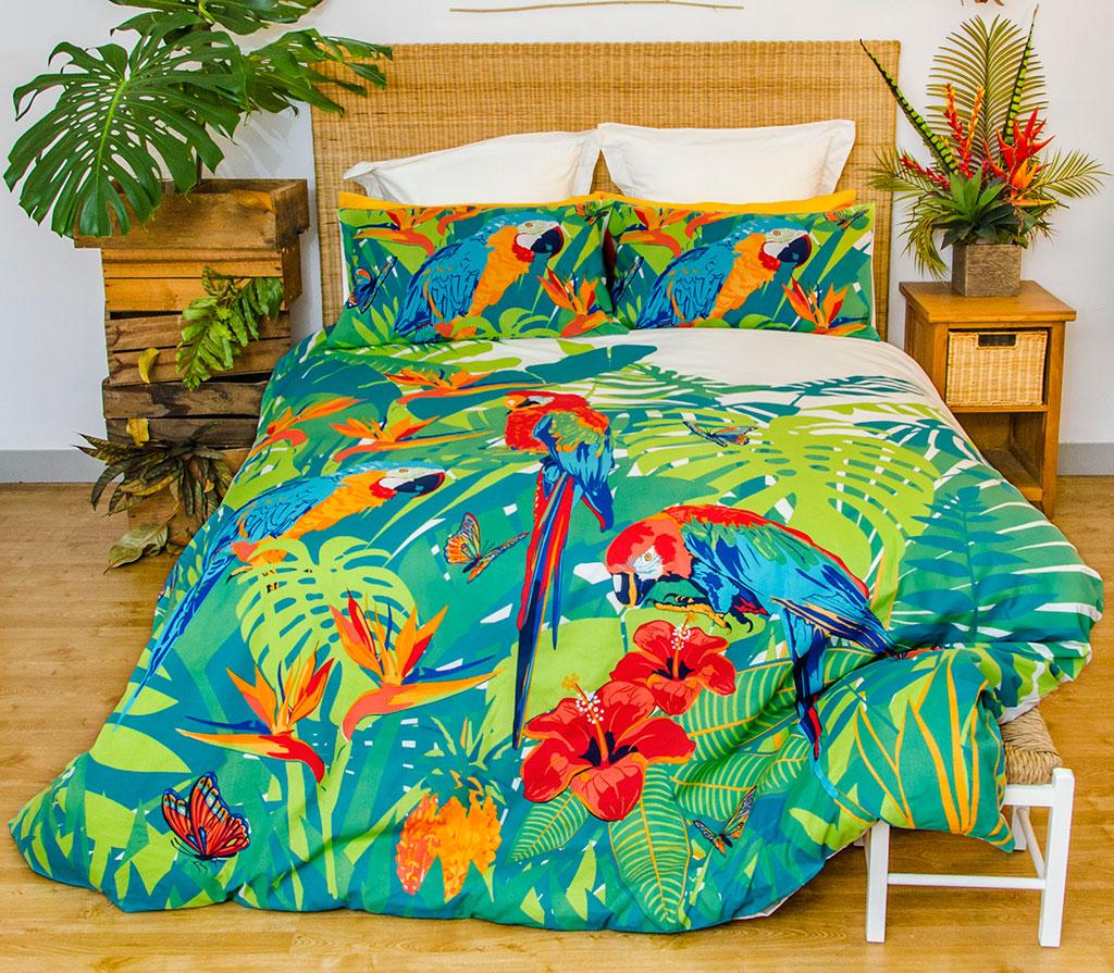 Tropica Parrots Quilt Doona Duvet Cover Set Parrot Bedding