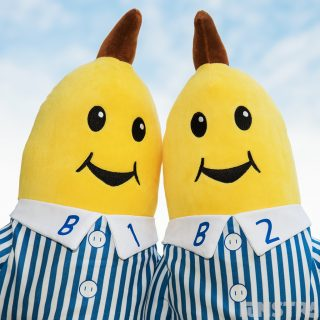 Always smiling B1 and B2 large plush dolls are available in talking plush and as a singing doll
