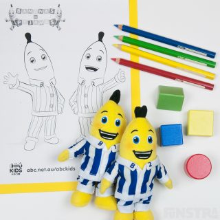 Colouring page from ABC Kids, coloured pencils, building blocks and plush beanies