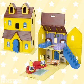 Fun House Playset with B1 and B2 plastic figurines and dollhouse. Walk B1 or B2 action figures down the stairs and the Bananas in Pyjamas theme song tune will magically start to play.
