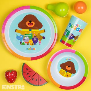 Mealtime set with plate, bowl, tumbler and wooden play fruit