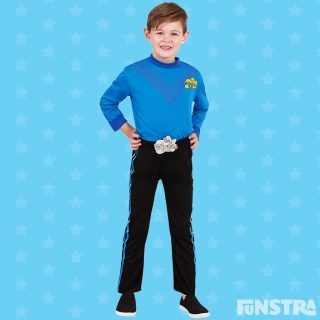 Anthony costume with black pants and blue skivvy