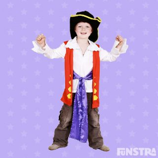 Tickle everything that moves and everything you see in the Captain Feathersword costume with hat, shirt, pants and sash
