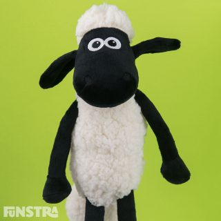 'Oh life's a treat with Shaun the Sheep. He's Shaun the sheep, he's Shaun the sheep, he doesn't miss a trick or ever lose a beat.' Cuddle Shaun and the flock from Mossy Bottom Farm with this cute stuffed animal.