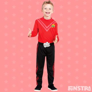Simon costume with black pants and red skivvy