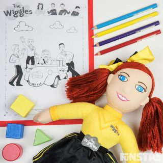 Wiggles Coloring Page, Coloured Pencils, Building Blocks and Cuddle Doll