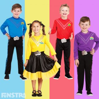 Wiggles outfits in blue, yellow, red and purple!