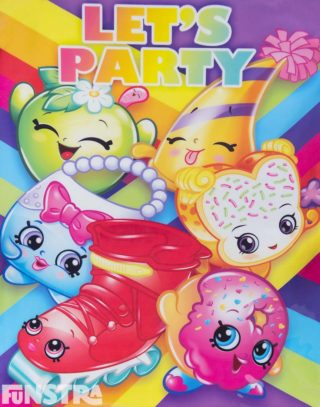 Let's Party with the Shopkins - Apple Blossom, Marty Party Hat, Handbag Harriet, Lola Roller Blade, D'lish Donut, Fairy Crumbs, Miss Pressy and Milk Bud!