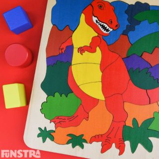 Imaginative play and learning is fun with educational dinosaur toys and the T Rex puzzle featuring a dinosaur bones skeleton and wooden building blocks!