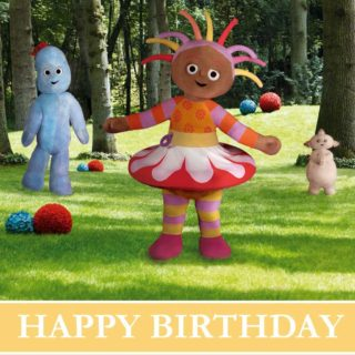 Happy Birthday from Igglepiggle, Makka Pakka and Upsy Daisy! Why not celebrate your little one's birthday with an In the Night Garden theme party? Get birthday party, cake, decorations and craft activity ideas from Pinterest.