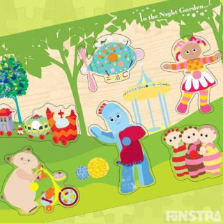 Toddlers can play and learn with a In the Night Garden jigsaw puzzle feature peg wooden puzzle pieces of Igglepiggle, Upsy Daisy, Makka Pakka riding his Og-Pog bike, the Tombliboos, the Ninky Nonk train and Pinky Ponk plane on a wooden frame tray.