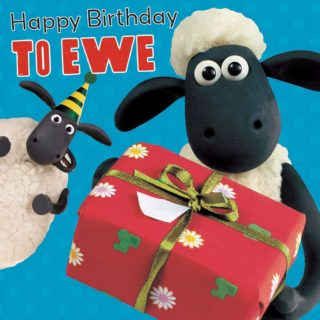 'Happy Birthday to Ewe!' Fans of the British stop-motion animated television series and movie can celebrate their birthday with Shaun, Timmy, Shirley, Hazel, Nuts, Bitzer and the Farmer with a Shaun the Sheep theme birthday party and gifts.