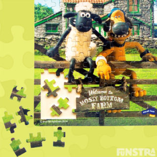 Shaun the Bitzer welcome you to Mossy Bottom Farm on this fun jigsaw puzzle.