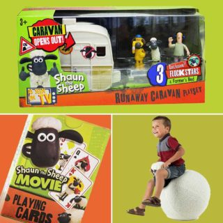 A look back at some classic Shaun the Sheep toys - runaway caravan playset and plastic action figures of Shaun, Bitzer and the Farmer, a hopper ball for bouncing and playing cards for sheepish card games with the flock.