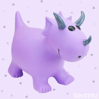 Jump into the Jurassic world with a playful Triceratops with horns for children to grip on to and feet to steady the bounce from Happy Hopperz.