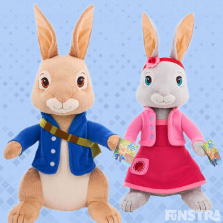 Cuddle Peter Rabbit and Lily Bobtail with these super cute and cuddly giant size plush stuffed animals, as you hop around on adventures together.