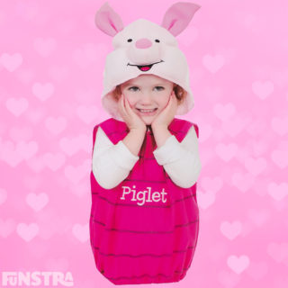 Dress up as Piglet and join Pooh, Tigger and Eeyore on their adventures in the Hundred Acre Wood.  Sweet costume for children, complete with striped jumper and cute pink ears attached to the headpiece.