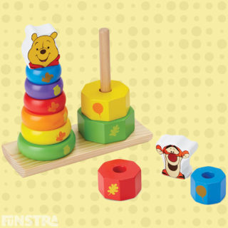 Develop fine motor skills, color recognition, matching and sorting skills with rainbow wooden stacking rings puzzle featuring Pooh and Tigger building blocks from Melissa & Doug educational toys.