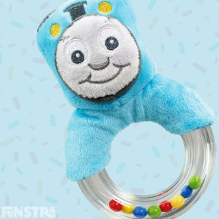 Thomas the Tank Engine ring rattle and teether of the little blue engine and promotes fine and gross motor skills while stimulating your toddler's senses of sight, touch and hearing.