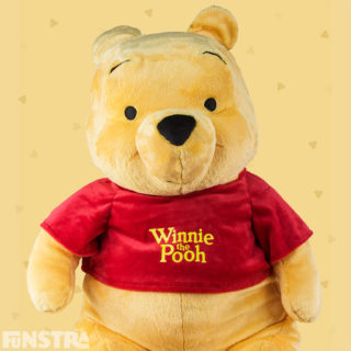 Cuddle a giant plush toy of everyone's favorite bear from the Hundred Acre Wood and much loved friend Eeyore, Tigger, Rabbit, Piglet, Owl, Kanga and Roo.