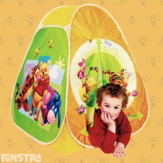 A play tent with a bright and colorful design of Tigger, Pooh, Piglet and Eeyore makes a fabulous playhouse or hideaway for playing games and creative play.