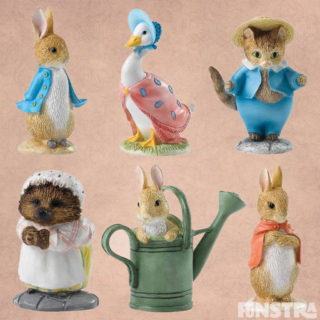 Beatrix Potter miniature figurines collection consists of Petter Rabbit, Jemima Puddle-Duck, Tom Kitten, Mrs. Tiggy-winkle and Flopsy.