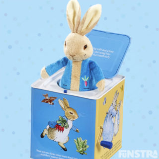 The Peter Rabbit wind-up jack-in-the-box is a traditional toy will entertain children with a music box the plays a tune as you turn the handle and Peter Rabbit soft toy jumps out of the classic box to surprise.