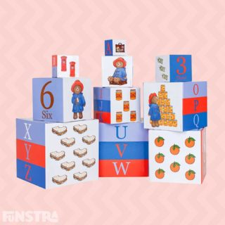 Paddington Bear Nesting & Stacking Learning Building Blocks are fun building and construction toys that help develop fine motor and problem solving skills and are bright and colourful educational toys to help children learn alphabet letters, numbers and visual perception.