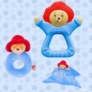 The Paddington baby range features a Paddington shaped teether, ring rattle, and a cuddly comfort security blanket that encourages eye-hand coordination.