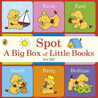 Spot's big box of little books feature titles - Toys, Farm, Food, Friends, Park, Family, Beach, Party, and Bedtime.