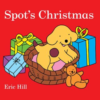 It's Christmas! Spot decorates the tree and wraps presents. Then he hangs up his stocking and waits for Santa, in 'Spot's Christmas' by Eric Hill.