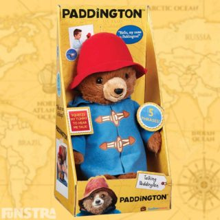 My Name Is Paddington Talking Toy from Rainbow Designs. Press his tummy to hear him say 'Hello my name is Paddington' and 'Roooaaar' just like in the movie.