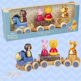 Kids will adore playing with this wooden toy train, featuring Eeyore, Owl, Piglet, Pooh and Tigger. The Winnie the Pooh Puzzle Train is a beautifully crafted wooden toy with three carriages and character figures.