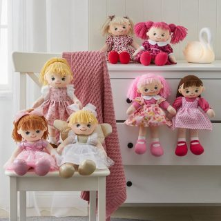 Rag dolls are designed to be played with, but also make a lovely decoration or art piece for collectors, showcasing their beautifully sewn dresses in modern and traditional fabrics and perfectly styled hair. The sweet natured style of the My Best Friends rag dolls can enhance the décor of a child's bedroom or nursery and create an inviting room for children.