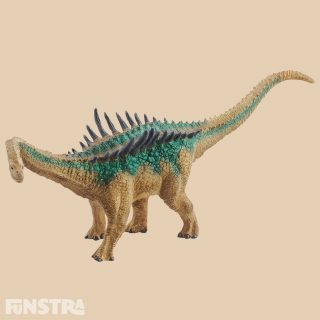 The Agustinia dinosaur has upright spines along its back. The long, narrow spines of the agustinia make it look so unique that it is impossible to mix up with any other dinosaur. It was also covered with unusual-looking ossified skin plates. As a harmless herbivore it probably needed the spines and plates to protect against other carnivorous dinosaurs. The agustinia figure from Schleich Dinosaurs is also always ready to defend itself!