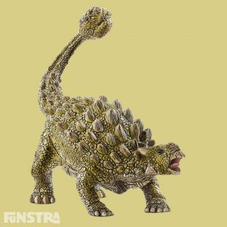 The Ankylosaurus dinosaur has a tail club and all-over bone plate armour. As an herbivorous dinosaur, the ankylosaurus did not hunt, but knew how to defend itself! If it felt threatened it gathered momentum with its heavy, bone tail club and hurled it against attackers. It was presumably able to shatter even large bones. There are plenty of exciting situations to create with the ankylosaurus from Schleich Dinosaurs!