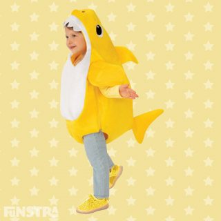 From the sea to your toy box, this cuddly Baby Shark costume comes complete with the famous song plus a dorsal fin, made from yellow and white plush polyester fabric.
