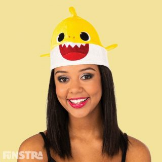 Anyone can dress up as Baby Shark with this unisex hat that will fit most adults. The yellow Baby Shark plush beanie style hat features felt teeth and eyes with 3D mini fins attached at the sides and mini dorsal fin on top.