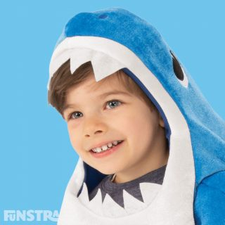 The Daddy Shark outfit consists of a plush romper jumpsuit with cut-out hole for face and felt teeth and will be a popular costume as this musical Daddy Shark costume plays the Baby Shark song.