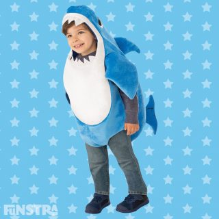 The Daddy Shark costume comes complete with the famous song plus a dorsal fin, made from blue and white plush polyester fabric.