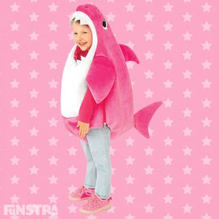The Mummy Shark costume comes complete with the famous song plus a dorsal fin, made from pink and white plush polyester fabric.