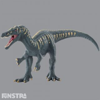 When the baryonyx dinosaurs opens its movable jaw you can see a flash of its dangerous, saw-like teeth. The long, narrow and flat head of the baryonyx is similar to that of a crocodile, making it an especially exciting prehistoric reptile. This dinosaur is believed to have hunted primarily in the water, and could immerse its perfectly shaped snout into the water to catch fish. It also had unusually large and heavy hook-shaped thumb claws to grab prey.
