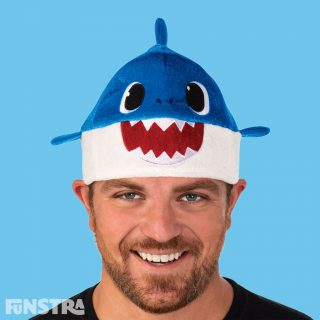 Anyone can dress up as Daddy Shark with this unisex hat that will fit most adults. The blue Daddy Shark plush beanie style hat features felt teeth and eyes with 3D mini fins attached at the sides and mini dorsal fin on top.