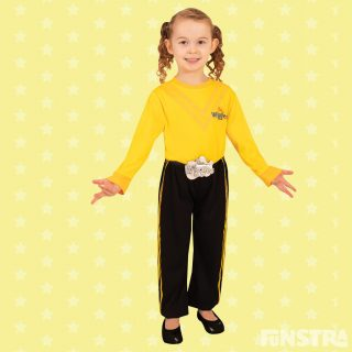 Emma costume with black pants and yellow shirt.