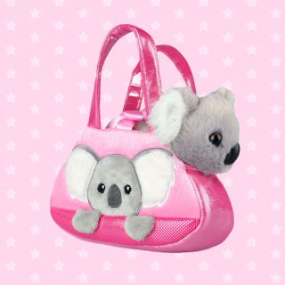 Fancy Pal Koala purse is beautifully created with pink shimmer fabric, beautiful embroidery and unique accents, and a soft removable cute and cuddly koala plush toy secured by satin ribbon, to keep the sweet animal friend from jumping out, the perfect comfort companion for interactive play.