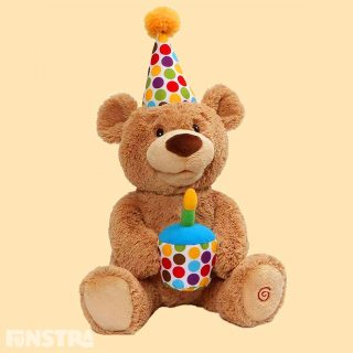 The animated Happy Birthday Bear delivers the brightest birthday smiles ever! Just squeeze his hand and the adorable plush pal will move and sing 'Happy Birthday' as the candle in the cupcake he's holding lights up. Then he'll even help the lucky birthday boy or girl blow the candle out.