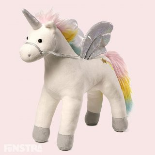My Magical Sound & Lights Unicorn is a magnificent animated plush unicorn with rainbow and sparkle accents, featuring light-up wings and sparkling sounds when you pet its back.