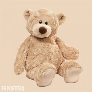 GUND's Manni  bear is a super cute character bear with adorably floppy arms and legs and features distinctive rose-swirl fabric in beige that provides a luxury touch.